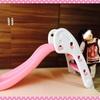 ☆ 室内用の折りたたみ式すべり台を購入して遊んでみた ピンク 《1歳7ヶ月》
