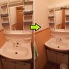 引っ越し前掃除8日目:洗面所。風呂場に比べると全然ラク。期限間近だが一つずつ終わらせるしかない