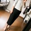 【アラフィフライフ&40代ファッションコーデ】GUロングタイトスカートを王道のエレガントスタイルに着てみました。
