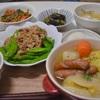 スナップえんどうと肉炒め/生春菊サラダ