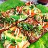 高野豆腐ピザ。納豆となまり節