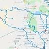 Googleルートマップ:甲山森林公園、北山緑化植物園、奥池。