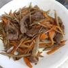 幸運な病のレシピ( 1378 )夜 :牛肉ときんぴらのオイスターソース、豚ロースの生姜焼き、汁仕立直し
