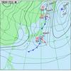 伊豆諸島付近と北日本付近を低気圧が通過中