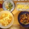 麻婆豆腐、ブロッコリー帆立枝豆、ウィンナー炒め、玉子焼き