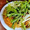 さきいかと水菜のスパゲッティ