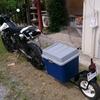 バイクでリヤカー(トレーラー)