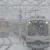 雪の中東急電車を撮る