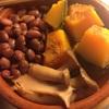 ✴︎ふっくらマヒマヒ煮付け(覚書き)、オレンジパプリカ、蕪、広東白菜、コーン、椎茸の炊き合わせ、南瓜とレッドキドニー豆とエリンギの煮物、海老照り煮、他