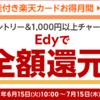 Edy付き楽天カードのチャージ1,000円以上で50名に全額還元キャンペーン