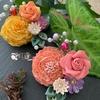 つまみ細工  はんくすに小花を添える方法
