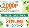 Vポイントアプリへのチャージ20%還元&増量!三井住友カードナンバーレスの入会キャンペーンとも相性抜群