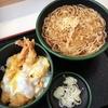 ゆで太郎さんで、ミニ・海老天とじ丼とそば・大盛