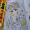ベールのお花部分を100均固形水彩で塗ってみた☆