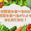 なぜ野菜を食べるのか…野菜を食べるメリットをまとめてみた!