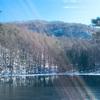 御斜鹿池で冬の景色を味わう