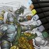 2】ダイソーイラストマーカー(100均コピック)&黒色鉛筆でパズドラ塗り絵の続きです