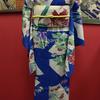 青地扇に菖蒲と牡丹・菊絽小紋×白地百合絽名古屋帯