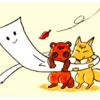 一反木綿と狸と狐