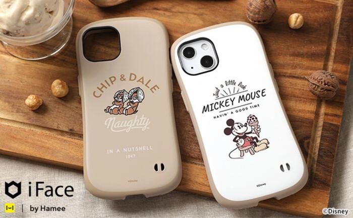 大人スタイルにもマッチするiFace Cafeシリーズに暖かみのあるラテカラーの「ミッキーマウス」と「チップ&デール」デザインが登場