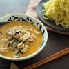 濃厚ごま系つけ汁、レンジ5分で作れます。替え玉「豚バラとなすの辛みそ豆乳つけ麺」