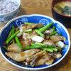 今日の食べ物 朝食に豚肉とニンニクの芽のオイスターソース炒め
