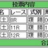 8/20(土)複勝コロガシの予想。11時時点オッズで1,200円→19,380円