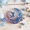 月と星のモールドで夜空カラーの作成例を作ってみた♪