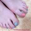 初めてのフットジェル体験♡3色のマルチカラーdeワンカラーネイル☆ジェル