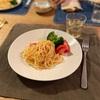たらこスパゲッティ、ブロッコリーとトマト、子供たちはファミチキ