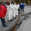 福島県沖地震、高橋千鶴子衆院議員と岩渕友参院議員とともに現地調査