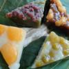 好きな和菓子、水無月。この日は小松市八日市町にある御朱印で、黒糖、抹茶、青豆、あんずの4種類。葛アイスバーも食べる。