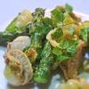 アスパラとベビーホタテのパスタ入りサラダ、マスタード風味