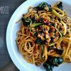 挽き肉とほうれん草のミートソース風スパゲッティ