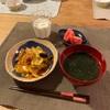 (子供たちはごはん)、チーズダッカルビ、トマト、わかめスープ