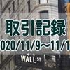 2020/11/9週の米国株オプション取引(確定利益$1,533、含み損$-7,533)