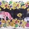 「花と動物を彩るコラージュぬりえ 森のなかへ」サンプルページの彩色を担当しました① イメージは赤ずきん