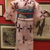 ピンク十字柄絹麻着物×うさぎ柄作り帯