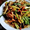 小松菜とキノコのスパゲッティ ポン酢味