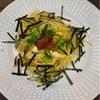 イクラと茸のパスタ&茄子素麺、とんかつ、茸のネギポン酢