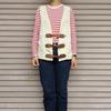 今日の服|ボーダーTシャツ×デニムのシンプルコーデにヴィンテージ風ベストでアクセント