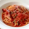 ケーパー使い切り、ソーセージとトマトのスパゲティ