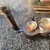 薪ストーブで、豚汁作ったどっ〜!