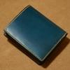 【試作】二つ折り財布(ボックスコインタイプ) ブルー × チョコ × ワイン