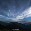 雲のある星空