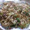 幸運な病のレシピ( 1478 )昼:五目チャーハン(カリフラワ、ポーク炙り焼き、ロース生姜炒め、レタス、カニカマ)
