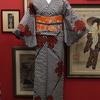黒白市松にシンボル銘仙×オレンジ色地花柄名古屋帯