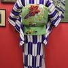 紫矢羽根縮緬単衣×緑地百合と菊刺繍絽名古屋帯