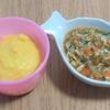 離乳食中期(8ヶ月)☆メニュー『とうもろこしのおかゆ  鮭と野菜のトロトロ』『鶏雑炊風おかゆ』ごはんを食べるときの合言葉は「もんもん」!もぐもぐよく食べます!【レシピ付き】