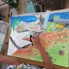 4年生:図工 ごんぎつねの絵 色塗り